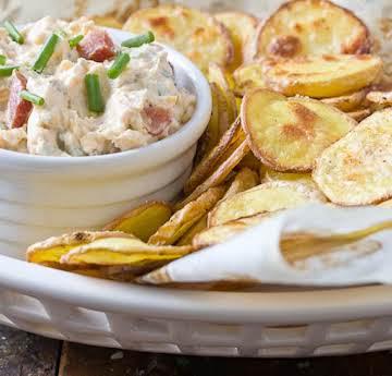 Loaded Baked Potato Dip w Homemade chips