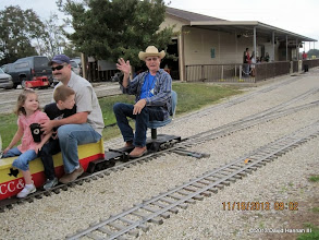 Photo: Art Morris leaving the station on the first train of the day.    2013-1116 DH3