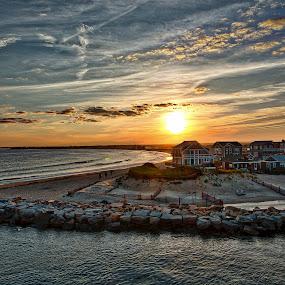Block Island by John Sinclair - Landscapes Sunsets & Sunrises ( clouds, sunset, ocean view,  )
