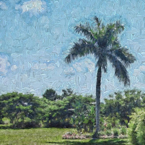 Monet Style Palm by Jackie Sleter - Digital Art Places ( palm, painted, trees, gardens, botanical )