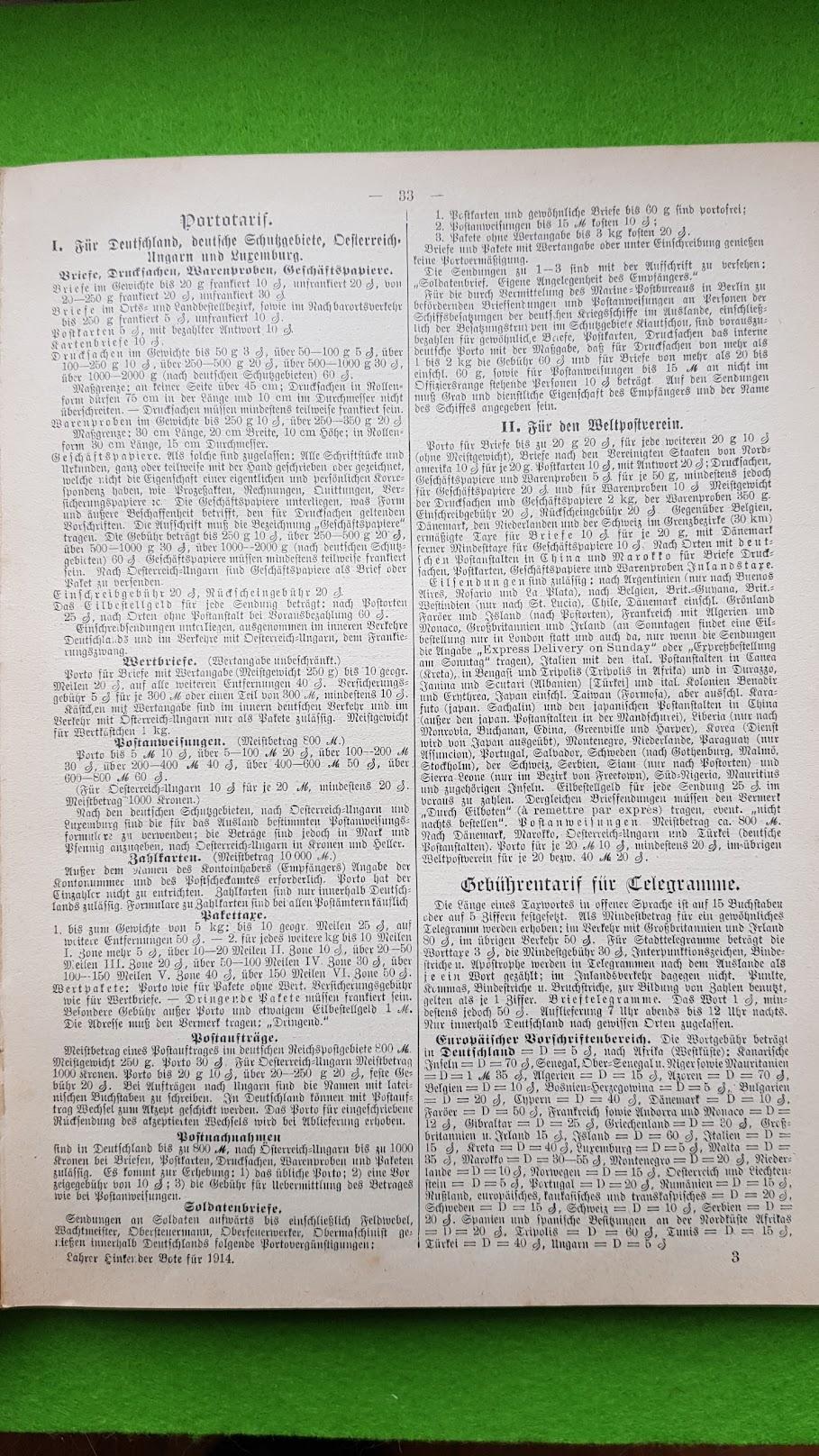 Großer Volkskalender des Lahrer hinkenden Boten - 1914 - Posttarife, Porto