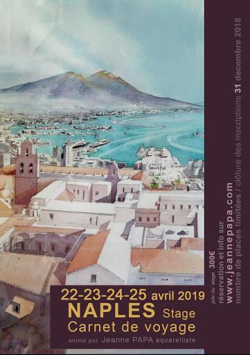 Jeanne PAPA aquarelles_STAGE CARNET DE VOYAGE_ NAPOLI  avril  2019_