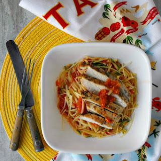 Grilled Chicken and Pasta with Grated Tomato Sauce #SundaySupper.