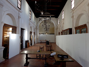 Photo: Interior of public library, formerly a 16th century church, being prepared for an exhibiiton