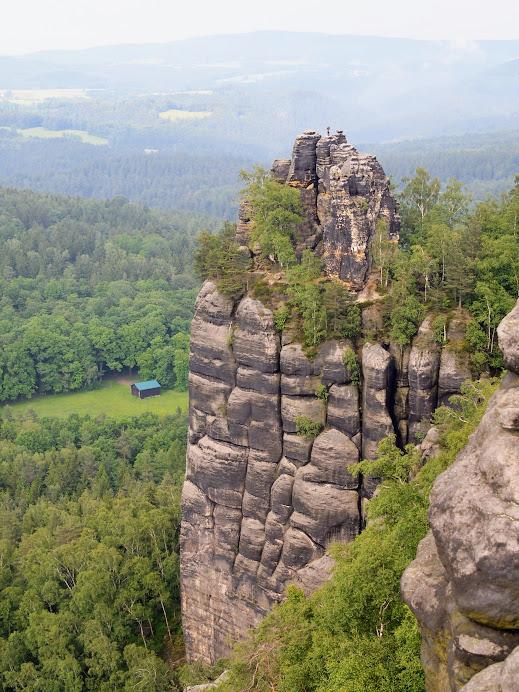 A climber spotted near Schrammsteine