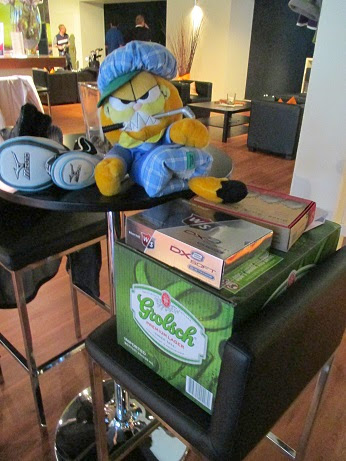 Photo: Garfield closely guarding the prizes