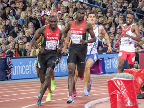 Photo: Glasgow 2014 Athletics. Men's 800m Semi-final 1. David Rudisha (Kenya) 1st Silver Medal, Ferguson Rotich (Kenya) 2nd, Guy Learmonth (Scotland) 3rd.