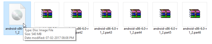 540 MB file has splitted into 6 smaller files