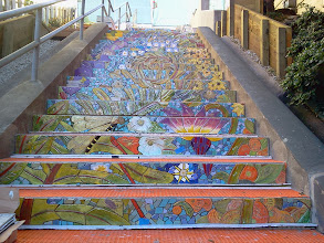 Photo: Top flights of steps of the Hidden Garden Steps (16th Avenue, between Kirkham and Lawton streets in San Francisco's Inner Sunset District) as KZ Tile workers finished installing more than 50 pieces of the 148-step ceramic-tile mosaic designed and created by project artists Aileen Barr and Colette Crutcher. For more information about this volunteer-driven community-based project supported by the San Francisco Parks Alliance, the San Francisco Department of Public Works Street Parks Program, and hundreds of individual donors, please visit our website at http://hiddengardensteps.org.