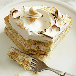 Spice Cake with Brown Sugar Meringue Frosting.