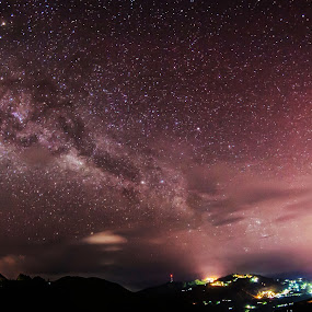 Milky Way & Kundasang Town by Adam Chua - Landscapes Starscapes ( masilau, kota kinabalu, kundasang, malaysia, kinabalu, sabah, milky way,  )
