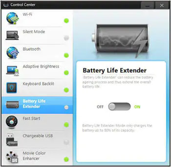 Disable Battery Life Extender in Windows 7