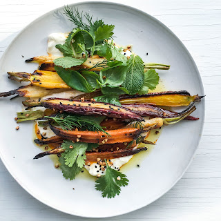 Roasted Carrots with Stracciatella and Buckwheat
