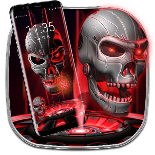 3D Red skull - lock  theme Icon