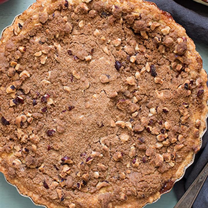 Apple Custard Pie with Hazelnut Streusel and Whiskey Cinnamon Whipped Cream Recipe