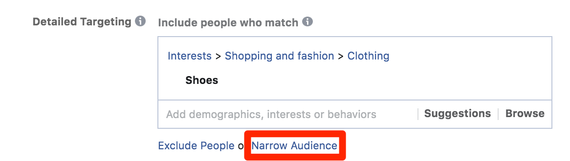 Setting up facebook ad targeting