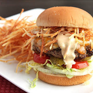 Cuban Fritas (Seasoned Cheeseburgers with Shoestring Potatoes and Spicy Sauce).