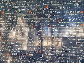 """Photo: Lovers the world over come here to read 311 versions of """"I Love You"""" written in 250 languages."""