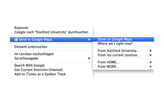 Send to Google Maps chrome extension