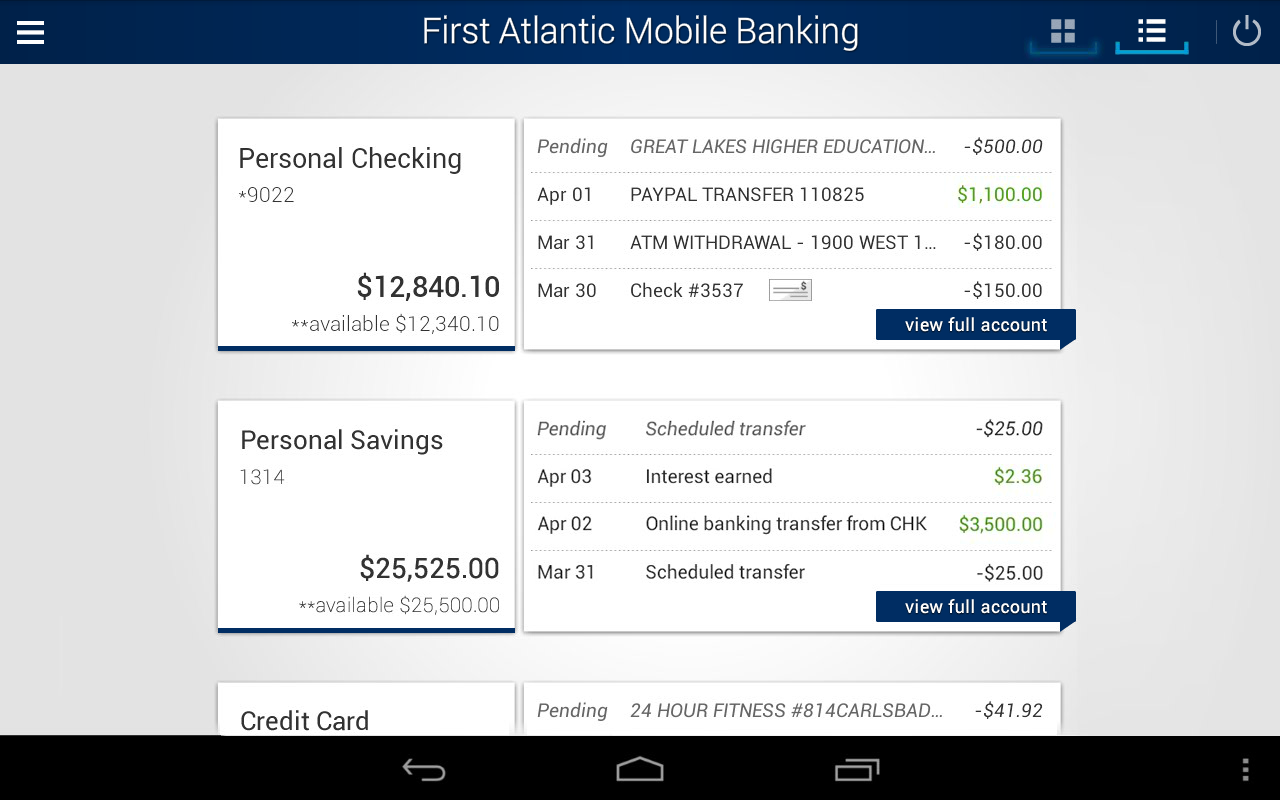 First Atlantic Mobile Banking- screenshot