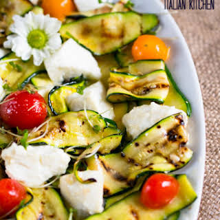 Grilled Zucchini Salad With Mozzarella And Tomatoes.