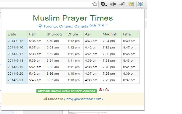 Muslim Prayer Times (Weekly)