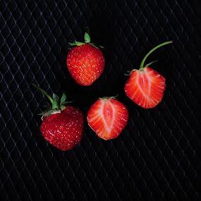 Yummi! by Randi Grace Nilsberg - Food & Drink Fruits & Vegetables ( shots from the dark, red, simplicity, strawberries, dark, grid, berries )