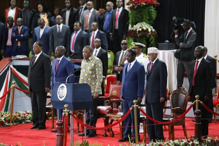 President Uhuru Kenyatta, Deputy President William Ruto, ODM leader Raila Odinga and other leaders during the BBI launch at the Bomas of Kenya on Wednesday, November 27, 2019