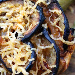 Joanna's Eggplant Roses with Truffle Oil & Spicy English Cheddar