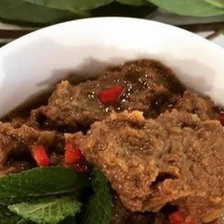 John Torode's beef rendang curry with flatbreads.