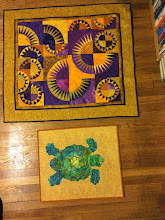 Photo: My local guild's quilt show is this weekend.  I added hanging sleeves to these two quilts this week - they'll be in the show.  For anyone in New England, the show is Saturday and Sunday at the UMass Amherst Campus Center. 10 a.m. - 4 p.m. both days.