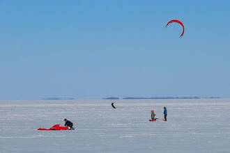 Photo: Snowkiting on Lake Champlain at Sand Bar State Park by Linda Carlsen-Sperry.