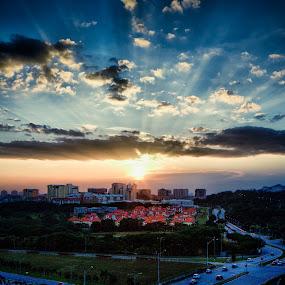 Gold & Blue by Danial Abdullah - City,  Street & Park  Vistas ( 7d, suburb, putrajaya, sunset, cloud, ts-e, sun )