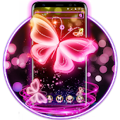 Neon Butterfly Pink Shine Theme