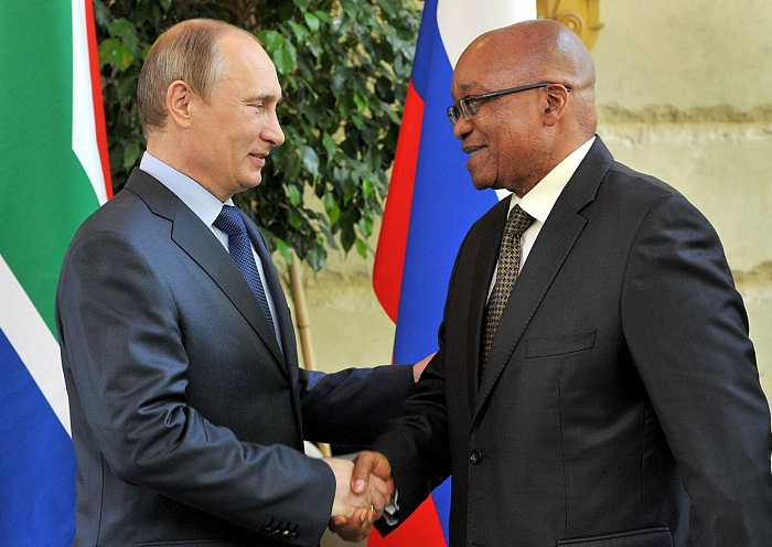 President Jacob Zuma, right, and Russian President Vladimir Putin. Picture: GCIS