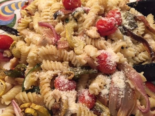 Add Chicken and roasted veggies to Huge Pasta Bowl. Toss and drizzle olive oil....