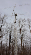 Photo: Terry W8ZN install triband 146/223/446 MHz FM vertical on 2m EME tower pre-contest