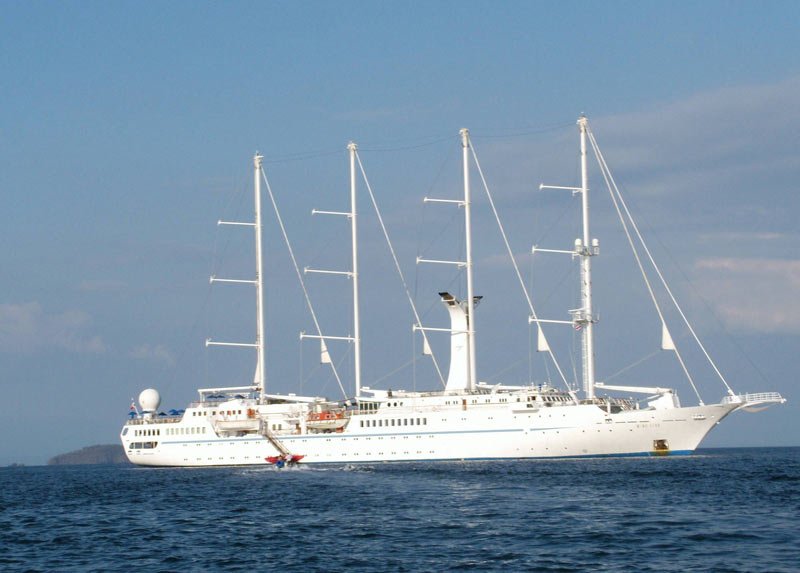 Wind Star moored during a shore excursion. Like watersports? Choose from sailboats, paddleboards, water skis, kayaks and snorkeling and scuba gear.