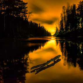 Icy forest lake by Patrick Janson - Landscapes Forests ( reflection, ice, trees, night, forest, norway,  )