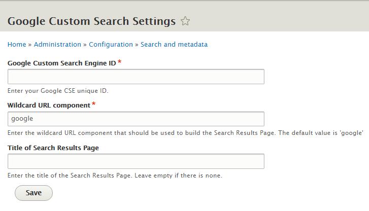 Google Custom Search Settings