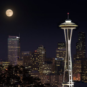 Seattle Spaceneedle with Moon by Anita Elder - City,  Street & Park  Skylines