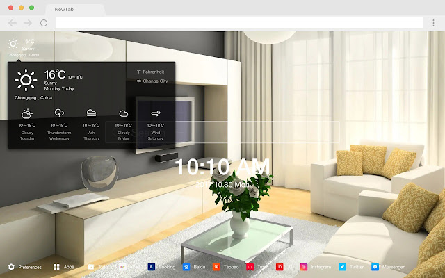 Living Room New Tab Page HD Photography Theme