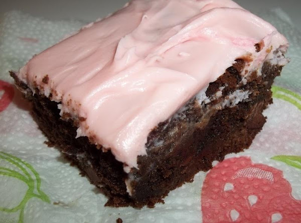 Fudge Brownies W/ Strawberry Cream Cheese Frosting Recipe