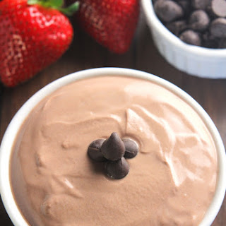 Strawberries with Chocolate Protein Dipping Sauce.