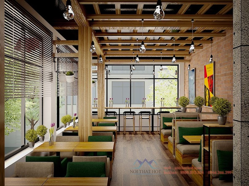 Thiết kế quán cafe mộc gần gũi thiên nhiên