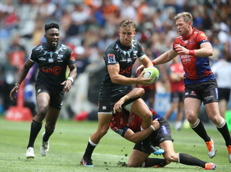 Jeremy Ward of the Sharks during the Super Rugby, #SuperHeroSunday match between Emirates Lions and Cell C Sharks at Cape Town Stadium on February 03, 2019 in Cape Town, South Africa.