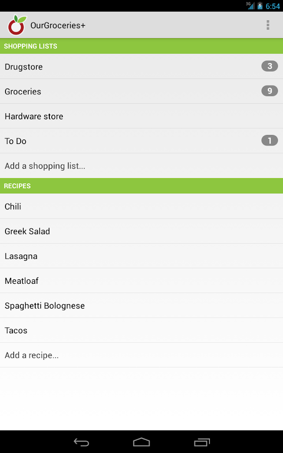 OurGroceries Key- screenshot