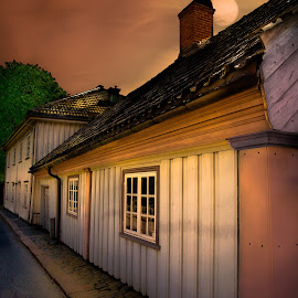Old City by Geir Blom - Buildings & Architecture Homes ( moonlight, street, windows, house, night photography )