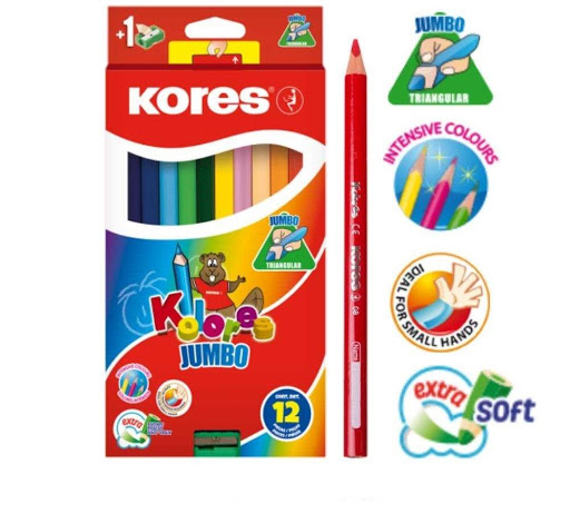 colores kores jumbo triangulares + sacapuntas 12 und