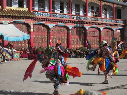 China Sichuan Kham Tibet Garze Ganzi Kandze Monastery Buddhist Festival // Tibetan Monks Performing Traditional Cham Lama Dance